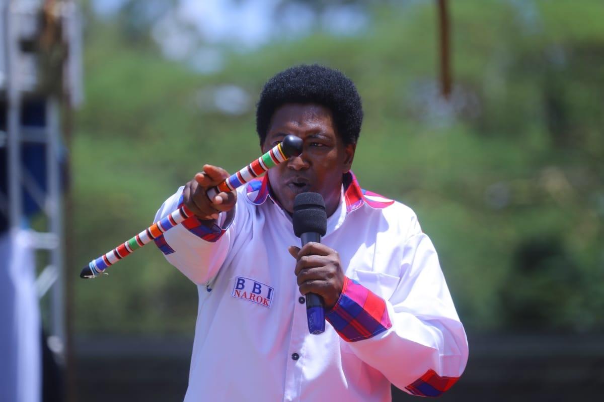Narok Senator Ledama ole Kina speaks at Narok County's Building Bridges Initiative rally on Saturday, February 22, 2020