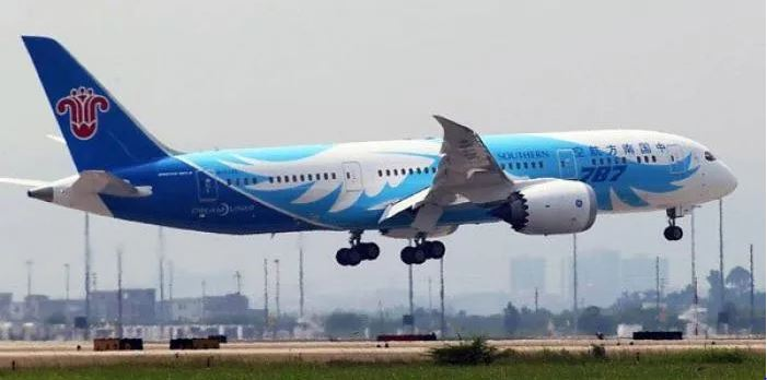 A Southern China plane lands in Guangzhou on June 3, 2013