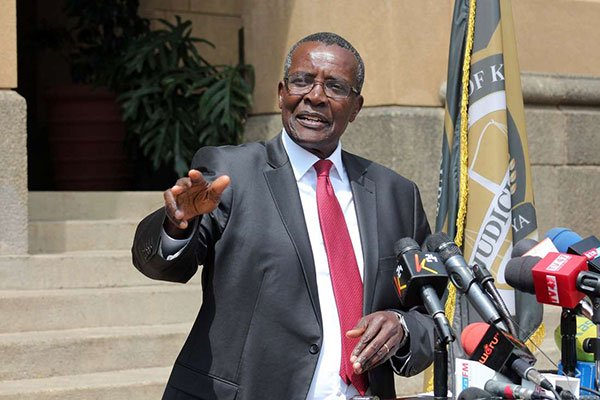 A photo of Chief Justice David Maraga during a press conference at the Supreme Court on November 4, 2019.