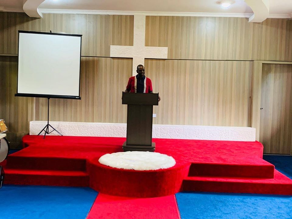 Deputy President William Ruto at the podium of the church in his Karen home on Sunday, April 26, 2020.