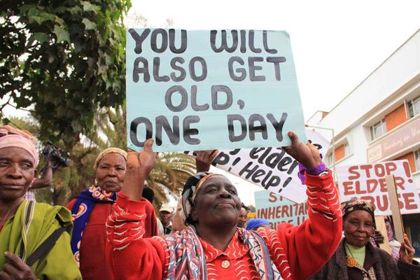 Elderly people mark the United Nations 8th Annual World Elder Abuse Awareness Day on June 15, 2013. On May 4, 2020, a group of elderly men and women held a protest in Laikipia County.