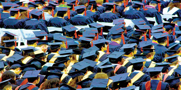 Graduates attend a graduation ceremony organised by a Kenyan University.