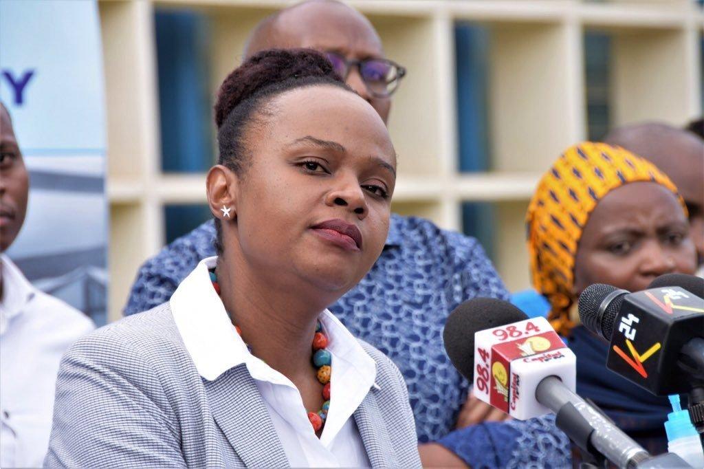 Health Ministry Chief Administrative Secretary Mercy Mwangangi addressing the media, April 2020.