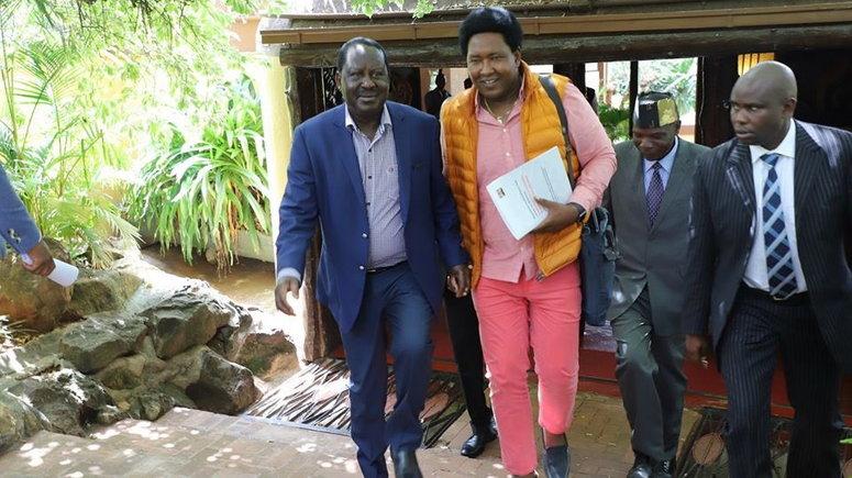 Jubilee Senator Ledma Ole Kina and former Prime Minister Raila Odinga