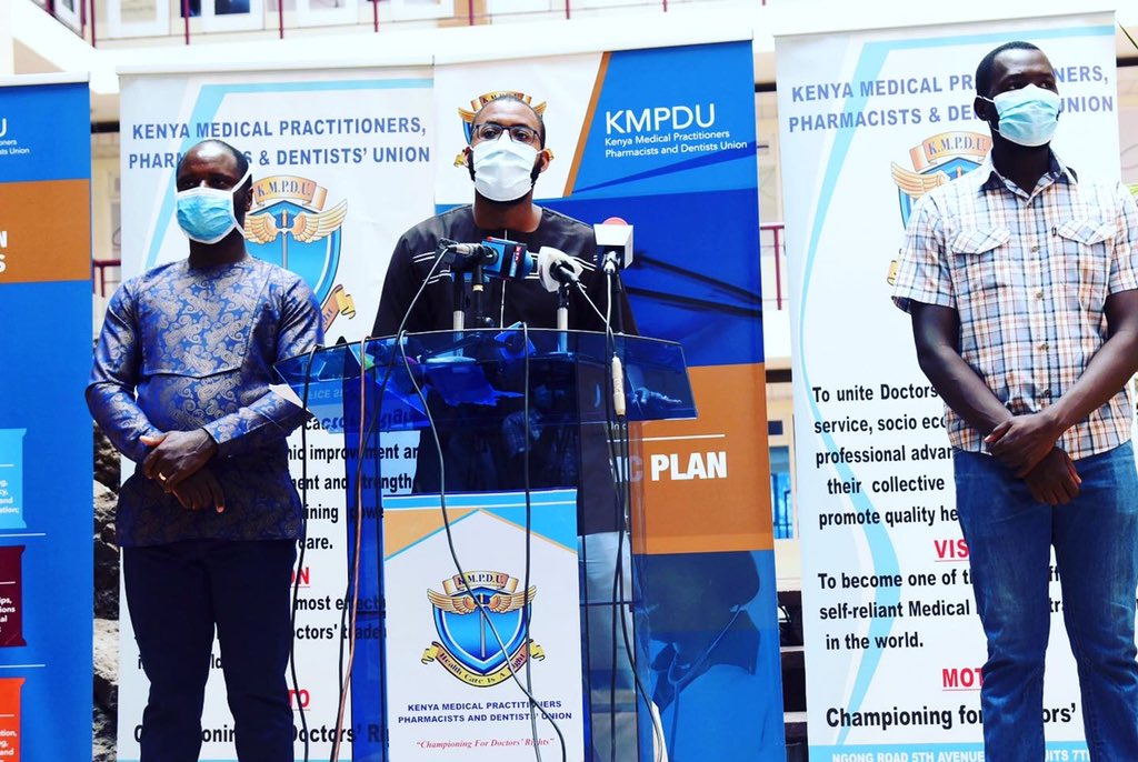 Kenya Medical Practitioners, Pharmacists and Dentists Union (KMPDU) Secretary-General Chibanzi Mwachonda addressing the media on April 13, 2020.