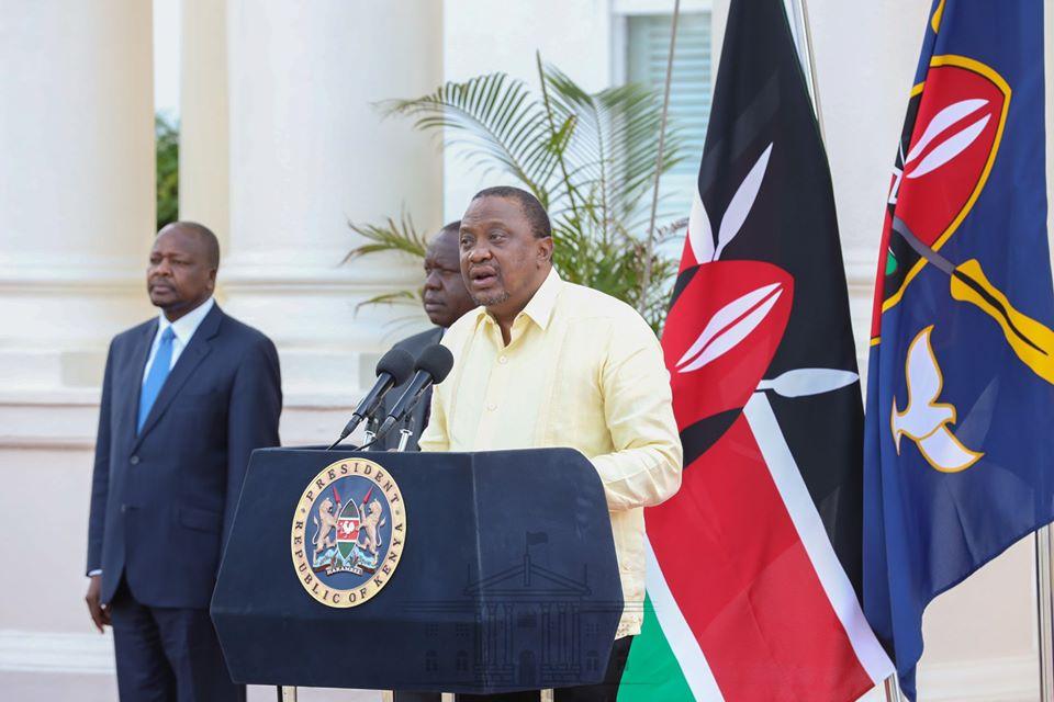President Uhuru Kenyatta addressing the nation from State House Nairobi on April 6, 2020.