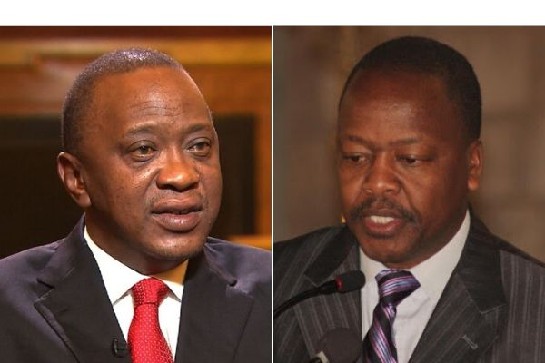 President Uhuru Kenyatta (left) and Health CS Mutahi Kagwe