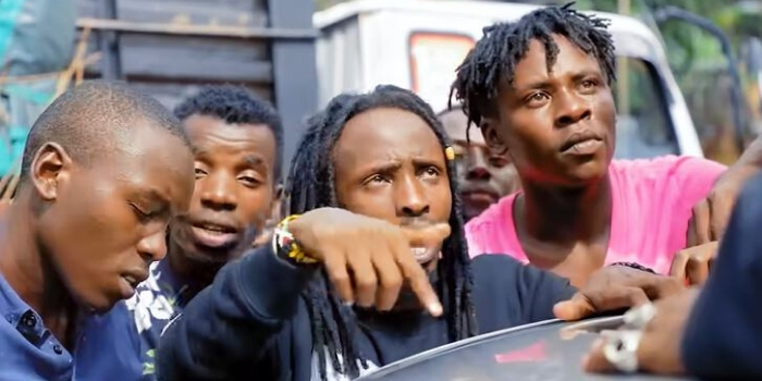 Kisii-based rapper Smallz Lethal (centre) in his viral song I'm Offended, released in April 2020