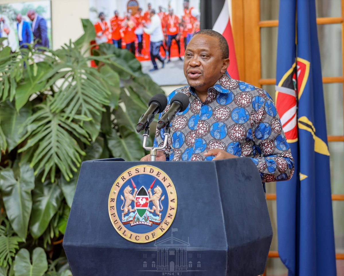 President Uhuru Kenyatta issues a statement announcing a national prayer day over the Coronavirus at the State House Nairobi, on Tuesday, March 17, 2020.