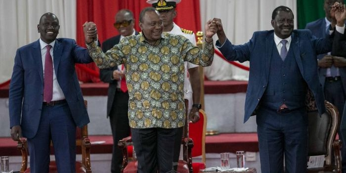 From left: Deputy President William Ruto, President Uhuru Kenyatta and Orange Democratic Movement leader Raila Odinga at the Bomas of Kenya on Wednesday, November 27, 2019, during the launch of the Building Bridges Initiative