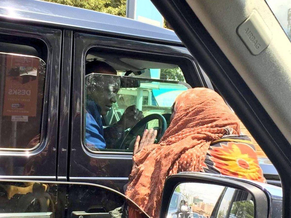 President Uhuru Kenyatta pictured driving himself in Nairobi on February 24, 2019