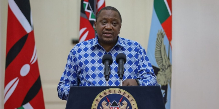 President Uhuru Kenyatta addresses the nation at State House, Nairobi on Wednesday, March 25, 2020