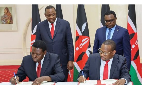 Governor Mike Mbuvi Sonko and Devolution Cabinet Secretary Eugene Wamalwa in concurrence with H.E President Uhuru Kenyatta, signed an agreement, handing over functions of the Nairobi County Government to the National Government on Tuesday, February 25, 2020