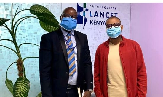 Pathologists Lancet Kenya (PLK) CEO Ahmed Yakub Kalebi (right) and Osborne Embiruka Nelson Nyandiva on Tuesday, April 21, 2020.