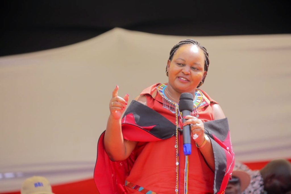 Kirinyaga Governor Anne Waiguru makes an address during the Narok Building Bridges Initiatives (BBI) consultative meeting on Saturday, February 22, 2020.