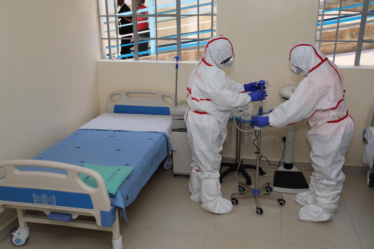 Medical practitioners at a Coronavirus isolation and treatment facility in Mbagathi District Hospital on Friday, March 6, 2020.