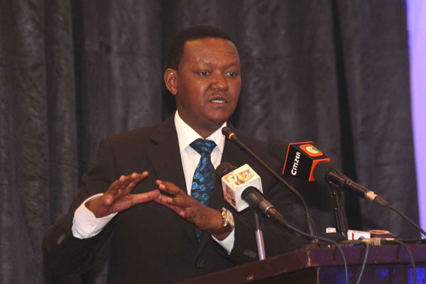 A photo of Machakos Governor Alfred Mutua at Crowne Plaza Hotel in Nairobi on August 20, 2019.
