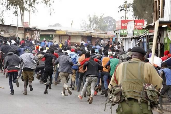 An angry mob protesting in Kenya