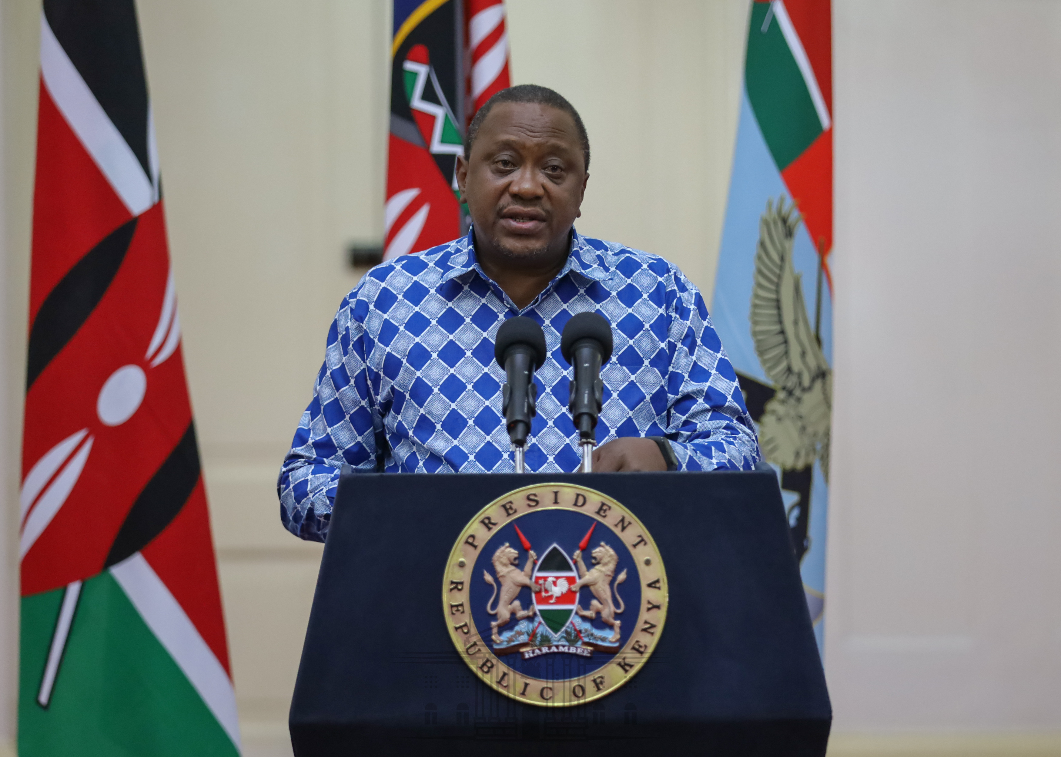 President Uhuru Kenyatta addressing the nation regarding new measures by the government