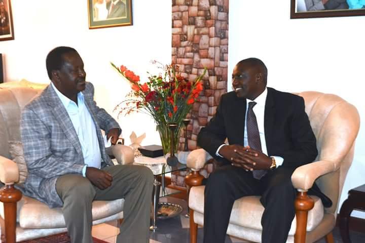 Deputy President William Ruto and ODM Leader Raila Odinga meet on April 20, 2016.