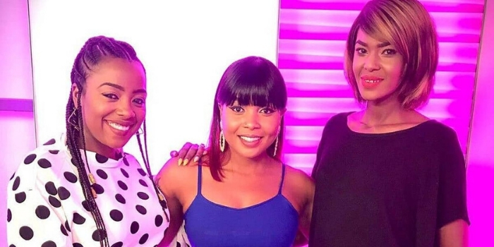 From left: Rembo TV presenter Jackie Matubia, Switch TV show host Kush Tracey and former Switch TV panellist Noni Gathoni.