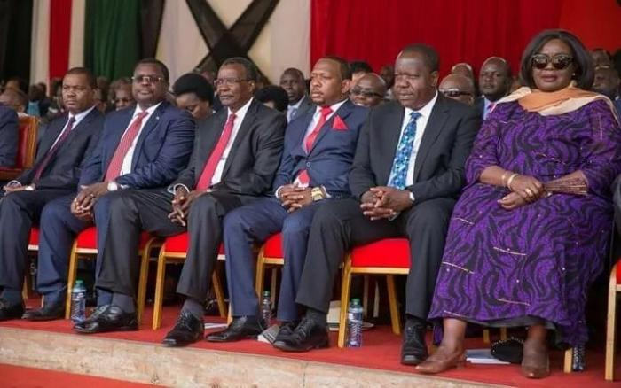 CJ David Maraga, Governor Mike Sonko and other leaders at the Mashujaa Day celebration in Mombasa on October 20, 2019