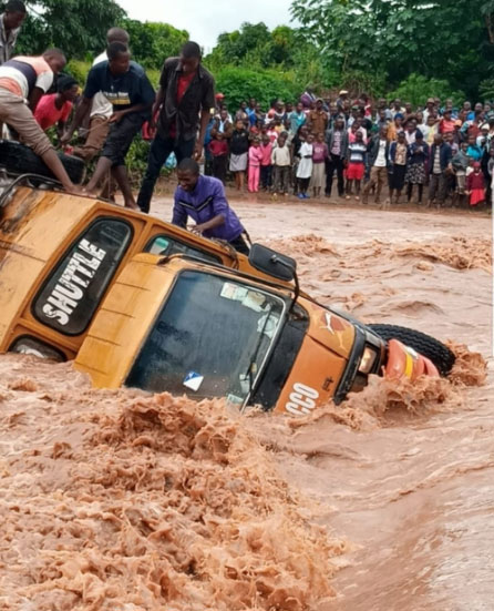 The 46-seater matatu slipped off the road and went adrift on the on swollen River Kyamela in Makueni.