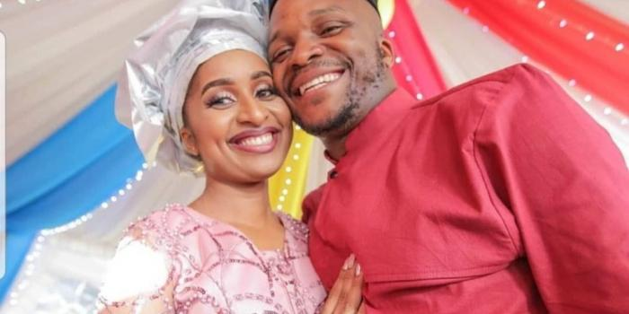 Comedian Jalang'o poses for a photo with his newlywed wife Amina Chao on October 26, 2019.