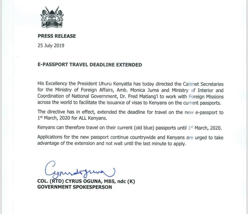 Uhuru Extends Issuance of e-Passports Deadline - Kenyans co ke