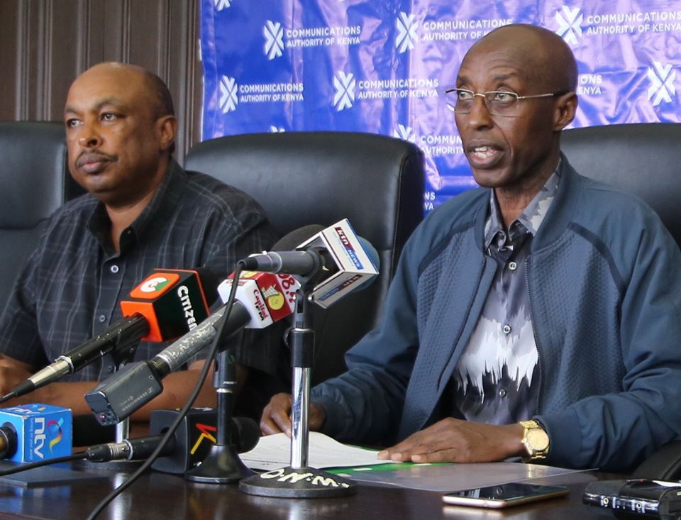 Communication Authority chairman Ngene Gituku (Left) and ICT principal secretary Eric Kiraithe during a press conference in November 2019