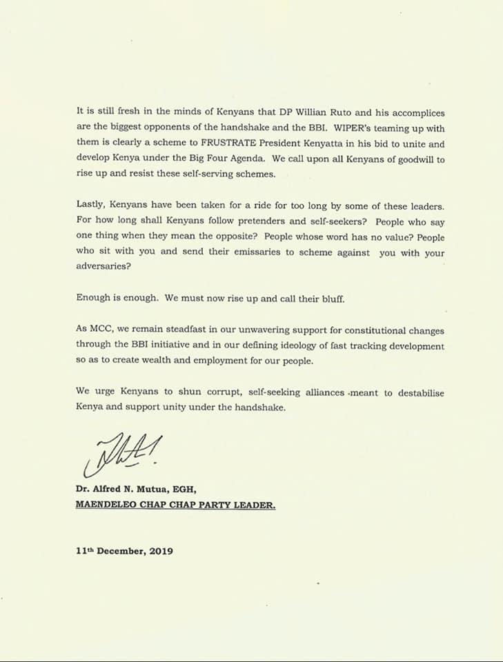 A statement issued by Machakos Governor Alfred Mutua on Wednesday, December 11, 2019.
