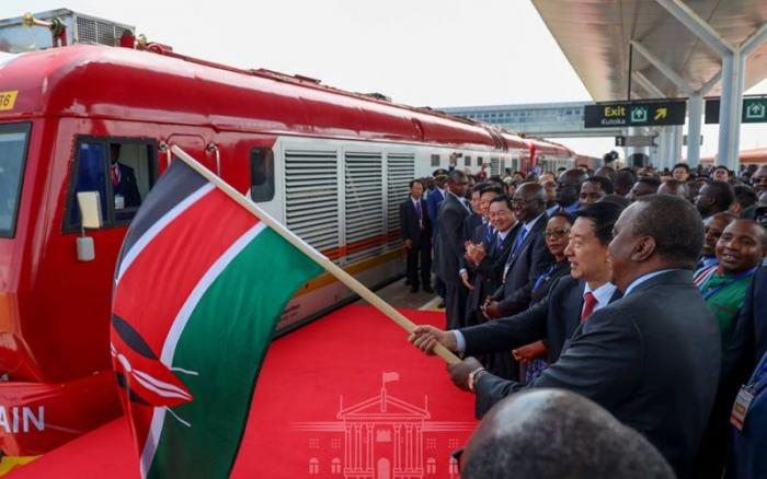 President Uhuru Kenyatta launches the Standard Gauge Railway (SGR) freight service from Nairobi to Naivasha on December 17, 2019. Reports claimed that a company linked to Senator Gideon Moi allegedly won SGR cargo clearance tenders.