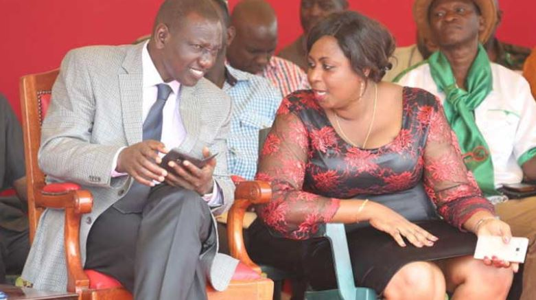 Malindi MP Aisha Jumwa with DP Ruto. She ignored ODM's decision to rescind her decision to support the Deputy President.
