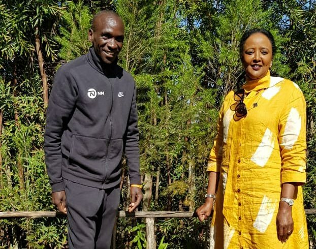 Sports CS Amina Mohammed with Eliud Kipchoge at the Kaptagat Stadium in Elgeyo Marakwet. He urged the CS to ensure that the affairs of athletes are taken care of.