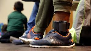 A man pictured wearing an ankle monitor on July 23, 2018.
