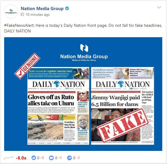 Daily Viral News Home: Daily Nation Forced To Clarify After Fake Wanjigi Headline