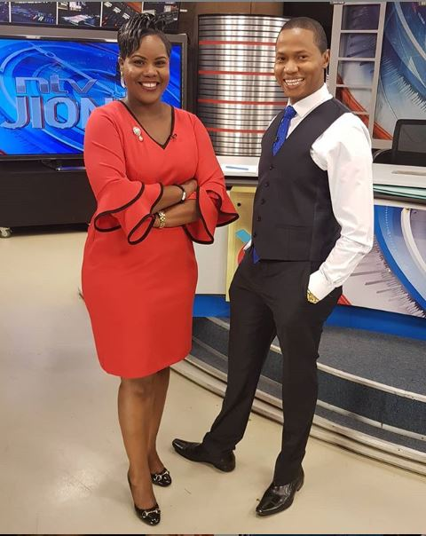 alim Swaleh (right) and co-host Jane Ngoiri pose for a photo in studio.