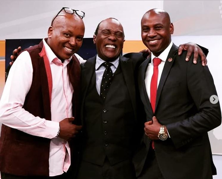 Jeff Koinange (center) and his two guests Walter Mong'are (right) and Tony Njuguna.