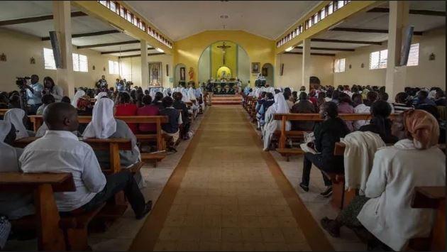 Congregants worshipping at a church in Kenya