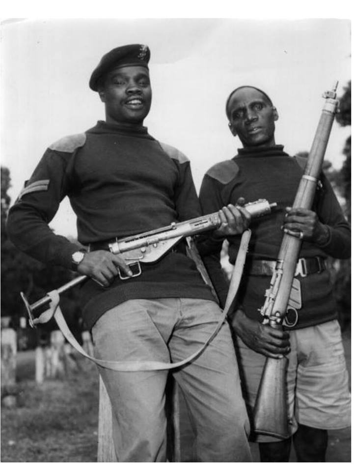 Corporal Ndirangu with an unidentified soldier. He is the one who reportedly fired the shot that wounded Dedan Kimathi.