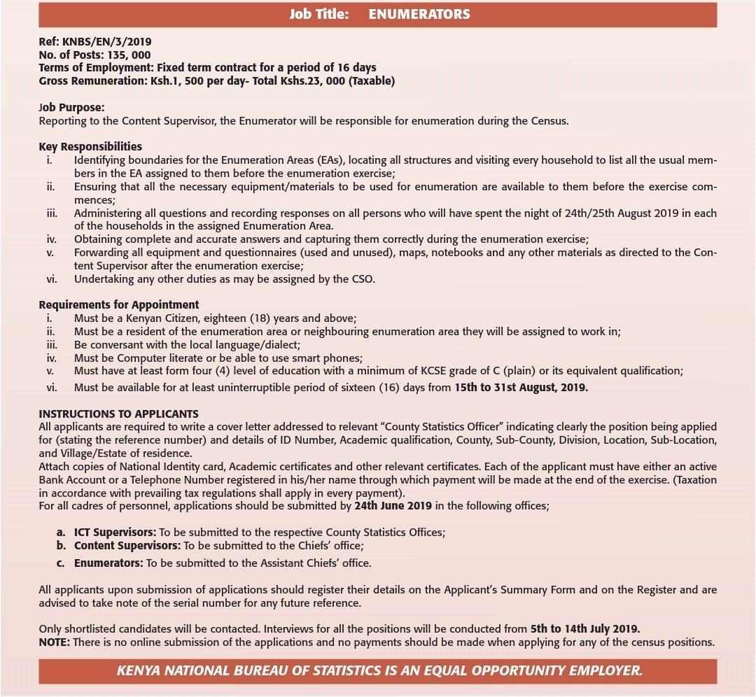 Census 2019: How to Apply for Jobs - Kenyans co ke