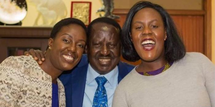 Raila Odinga with her daughters, Rosemary Odinga (Left) and Winnie Odinga (Right)