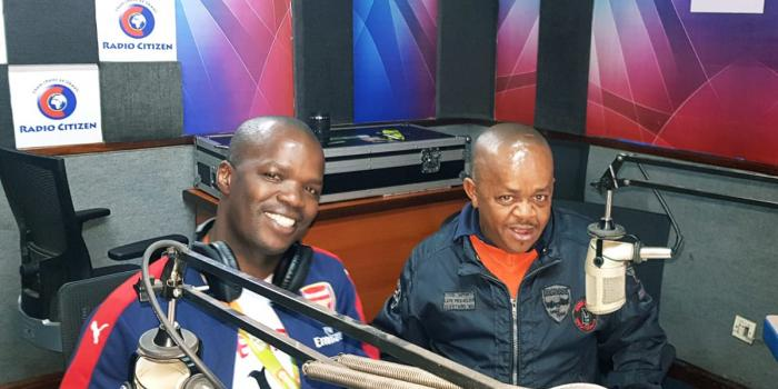 A photo of Inspector Mwala and Vincent Ateya at Radio Citizen's studio