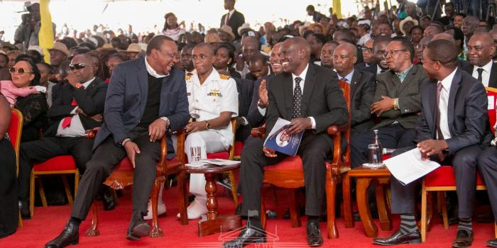 President Uhuru Kenyatta and Deputy President William Ruto during De Matthew's funeral service