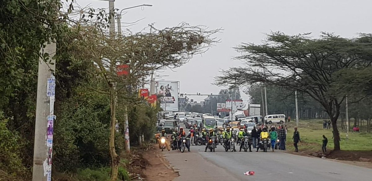 Multimedia University students hold a protest along Mbagathi Way on Monday, September 2019, after their colleague was allegedly killed in a hit-and-run incident.