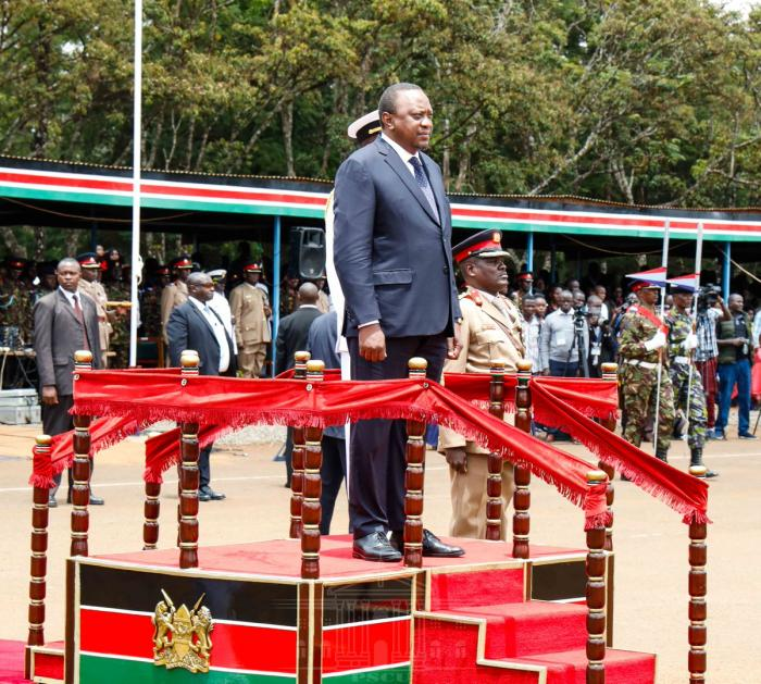 President Uhuru Kenyatta presiding over the pass out ceremony of KDF recruits at Moi Barracks in Eldoret on September 11, 2019.