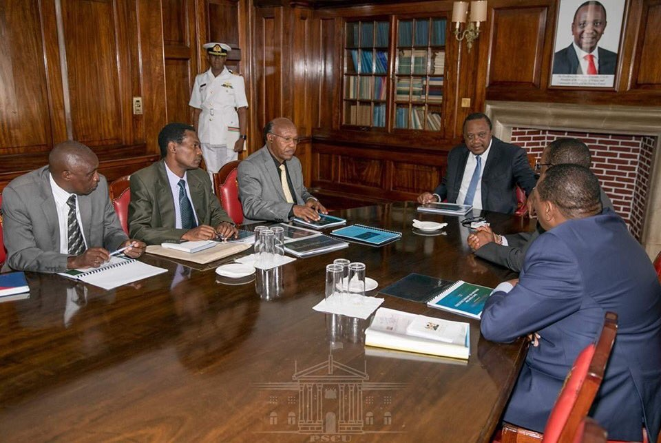 President Uhuru Kenyatta when he received a report recommending for the cancellation of the Kimwarer dam project.