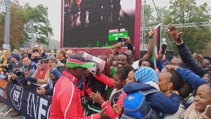 Deputy President William Ruto celebrates with spectators in Vienna  on Saturday, October 12.