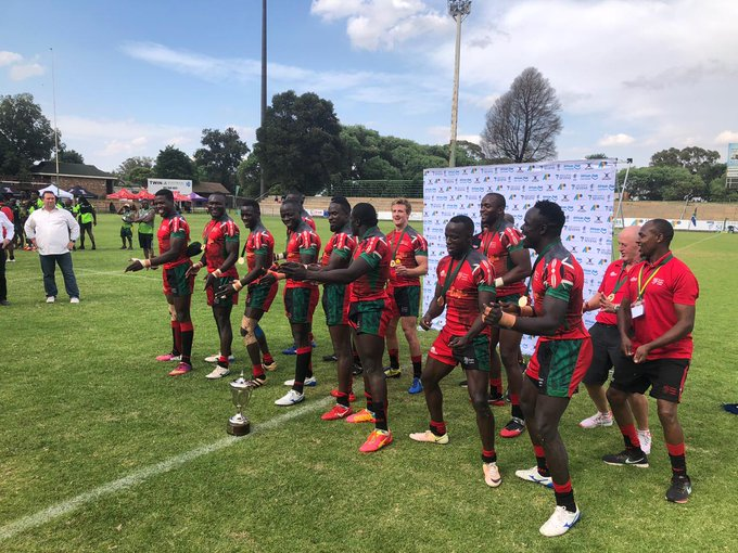 The Rugby Sevens team members warming up before the game in South Africa on Saturday, November 9, 2019. They emerged vi