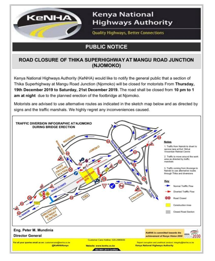 Notice released by KeNHA on Sunday, December 15, announcing closure on a section of Thika Road.
